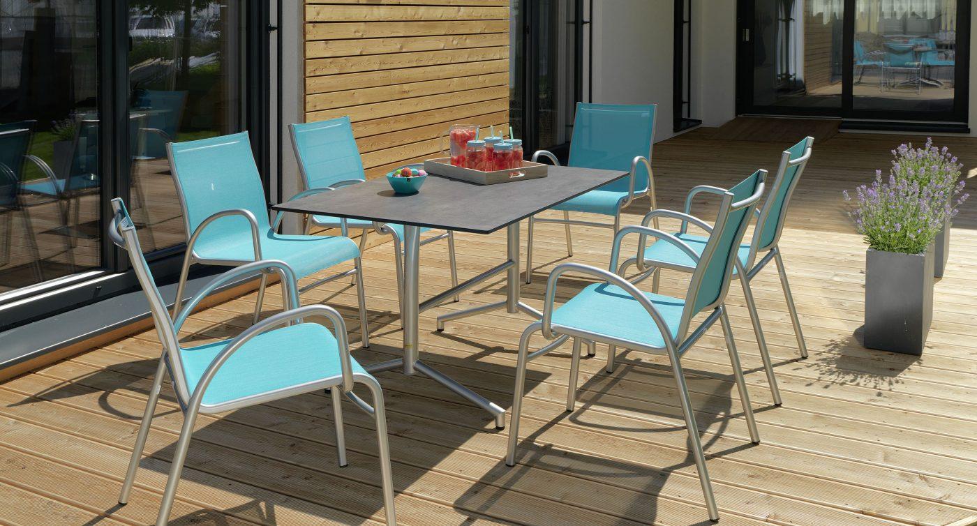 Gartenstühle blau silber